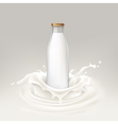Bottle full of milk vector