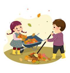 boy and girl raking leaves vector image