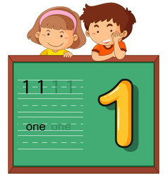 boy and girl with number one vector image
