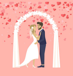bride and groom in love on wedding ceremony vector image
