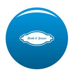 Bride and groom label icon blue vector