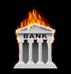 burning building bank on black background vector image
