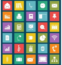 business and office flat icons for web and mobile vector image