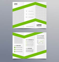 Business trifold brochure template - green vector