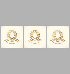 calligraphic floral baroque monogram emblems gold vector image