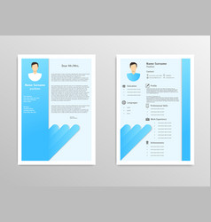 cartoon male resume and vitae with infographics vector image