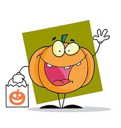 Character halloween happy pumpkin bag vector