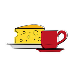 cheese with coffee food related imag vector image