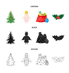 Christmas tree angel gifts and holly cartoon vector