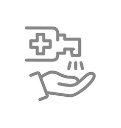 Cleaning hands with disinfectant line icon vector