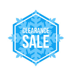 Clearance sale sign hexagon winter sale vector