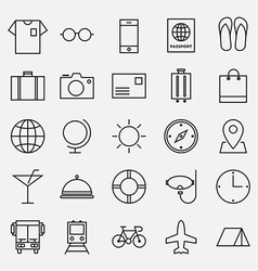 collection travel line icon vector image