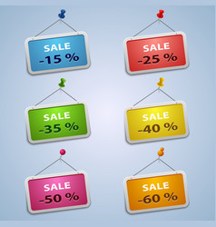 Colorful labels with pins sale discount template vector image
