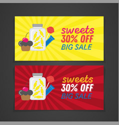 colorful sweets sale retro banner design vector image