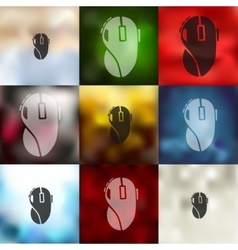 Computer mouse icon on blurred background vector
