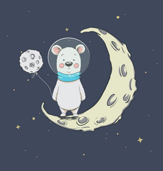 cute polar bear on crescent moon vector image