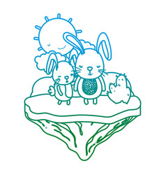 degraded line couple rabbit animal in the float vector image