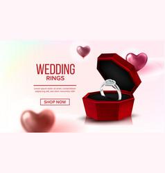 diamond platinum ring in box landing page vector image