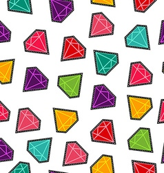 Diamond stone stitch patch pattern in fun colors vector