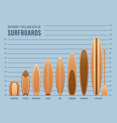Different sports surfboards for surfing set vector