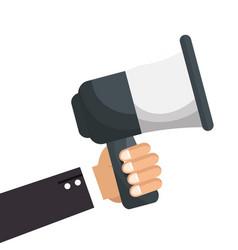 Executive hand holding megaphone icon vector