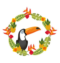 Exotic toucan in weather flowers tropical vector