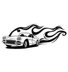 fiery retro sports car design template vector image