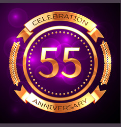 fifty five years anniversary celebration with vector image