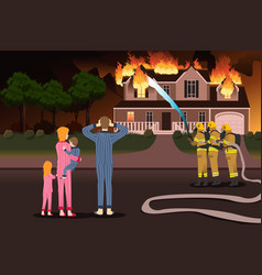 Firemen putting out fires of a burning home vector