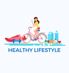 flat design style healthy lifestyle concept vector image