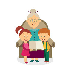Flat grandmother with kids reading book vector