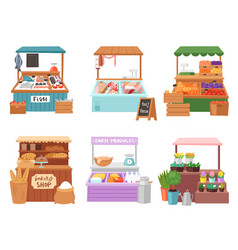 food market salesman seller character vector image