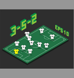 football 3-5-2 formation with isometric field vector image