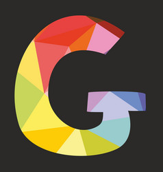 G low poly colorful alphabet letter isolated vector