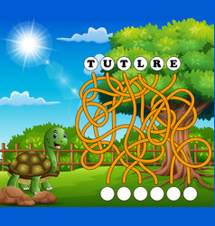 Game turtle maze find way to the word vector