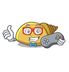 Gamer mollusk shell mascot cartoon vector