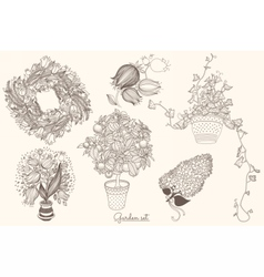 Garden set with 6 plants in flowerpot vector image vector image