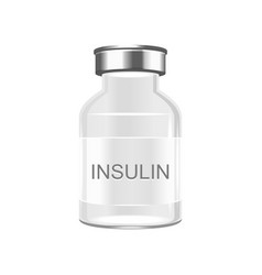 glass insulin bottle on white background vector image