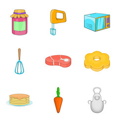 Grandma baking icons set cartoon style vector