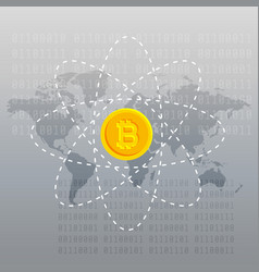 gray background with bitcoin and world map vector image