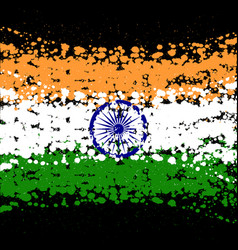 grunge blots india flag background vector image