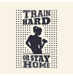 Gym vintage t-shirt design print with exercising vector image
