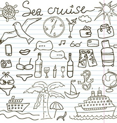 Hand drawn sketch sea cruise doodles of Travel and vector image