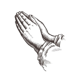 Hands folded in prayer Sketch vector image