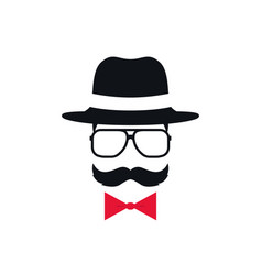 Hipster in hat glasses and red bow tie portrait vector
