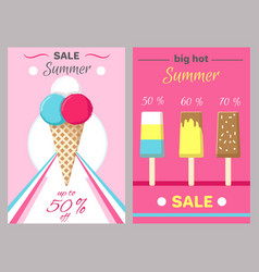 Hot summer posters set with ice cream vector
