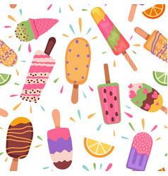 Ice creams seamless pattern summer holidays vector