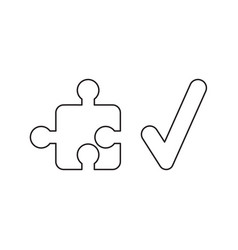 icon concept jigsaw puzzle piece with check vector image