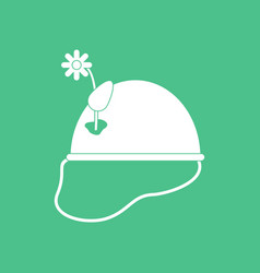 Icon military helmet with flower vector