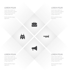 icon trade set of fabric alert loudspeaker and vector image